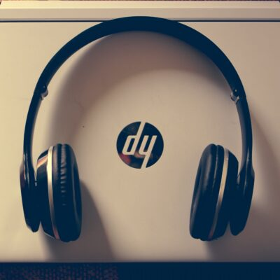 HP laptop and headphones
